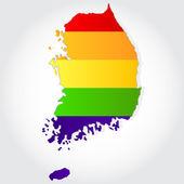 Rainbow flag in contour of South Korea — Stock Vector
