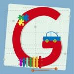 """lettera """"g"""", dall'alfabeto stilizzato con giocattoli per bambini — Vettoriale Stock  #49801499"""