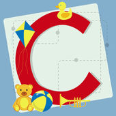 """Letter """"c"""" from stylized alphabet with children's toys — Stock Vector"""