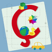 """Letter """"cedilla"""" from stylized alphabet with children's toys — Stock Vector"""