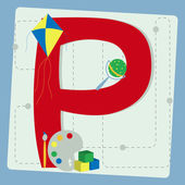 "Letter ""p"" from stylized alphabet with children's toys — Stock Vector"