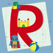 "Letter ""r"" from stylized alphabet with children's toys — Stock Vector"