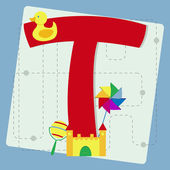 """Letter """"t"""" from stylized alphabet with children's toys — Stock Vector"""