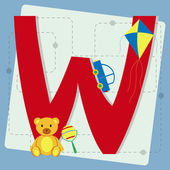 "Letter ""w"" from stylized alphabet with children's toys — Stock Vector"