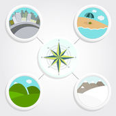 Four different landscapes oriented for a compass — Stock Vector