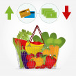 Supermarket basket with vegetables and the payment method — Stock Vector #51143357