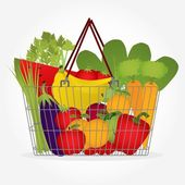 Sebze sepeti süpermarket — Stok Vektör