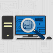 Analyzing the hardware of the pc — Stock Vector