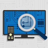 Analyzing the hardware of the Smart TV — Stock Vector