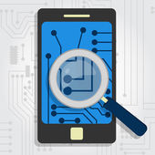 Analyzing the hardware of the smartphone — Stock Vector