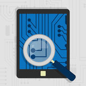 Analyzing the hardware of the tablet — Stock Vector