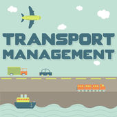 """""""Transport management"""" phrase and means of transportation — Stock Vector"""