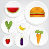 Circular icons of vegetables and hamburger — Stock Vector