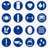 Monochromatic circular icons of health — Stock Vector