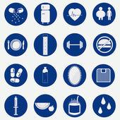 Monochromatic circular icons of health — Stock Vector