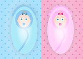 Babies boy and girl — Stok Vektör