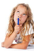 Pensive girl with pencil on white background — Stock Photo