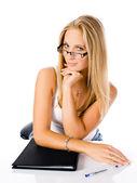 сексуальная молодая бизнес женщина на белом фоне — Стоковое фото