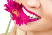 Face of a woman with a flower — Stock Photo