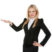 Pretty business woman on a white background — Stock Photo