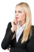 Pensive business woman on a white background — Stock Photo