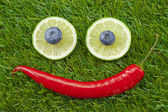 Happy face lime chili blueberry — Stock Photo