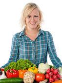 きれいな女性と野菜 — ストック写真