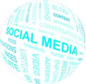 SOCIAL MEDIA - word cloud — Stock Vector