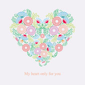 Vintage Flowers Wedding Heart — Vector de stock