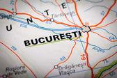 Bucuresti na mapie drogowej — Zdjęcie stockowe