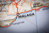 Malaga on a road map — Stock Photo