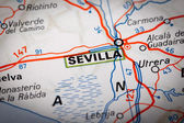 Sevilla on a road map — Foto Stock