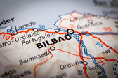 Bilbao on a road map — Foto Stock