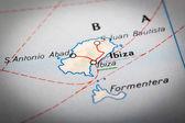 Ibiza na mapie drogowej — Zdjęcie stockowe