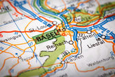 Basel on a road map — Stock Photo