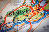 Geneve City on a Road Map — Stock Photo