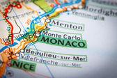 Monaco City on a Road Map — Stock Photo
