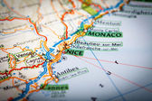 Cote d'Azur on a Road Map — Stockfoto