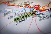 Ciudad de dubrovnik en una hoja de ruta — Foto de Stock