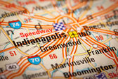 Indianapolis City on a Road Map — Stock Photo