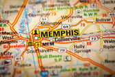 Memphis City on a Road Map — Stock Photo