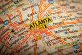 Atlanta City on a Road Map — Stockfoto
