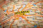 Atlanta City on a Road Map — Zdjęcie stockowe
