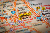 Orlando City on a Road Map — Stock Photo