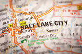 Salt Lake City on a Road Map — Stock Photo
