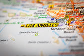 Los Angeles City on a Road Map — Stock Photo