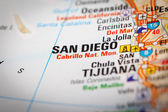San Diego City on a Road Map — Stock Photo