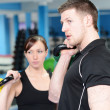 Personal trainer and client — Stock Photo