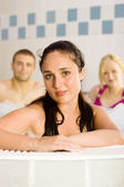 Friends in the jacuzzi — Stock Photo