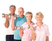 Senior older people lifting weights — Foto Stock